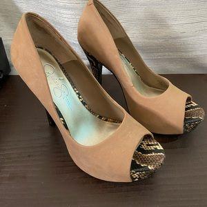 Jessica Simpson Tan Peep Toe Heels